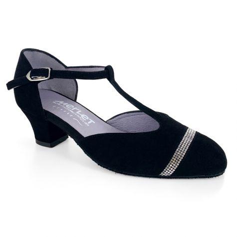 """Ebela - Black Suede / Crystals - 1.5"""" Cuban heel"""