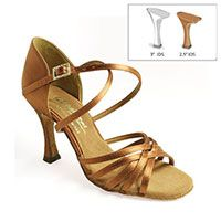 "Flavia Wide - Tan Satin - 2½"" IDS heel"