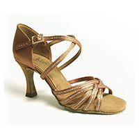 "Larissa - Tan Satin w/ Sequin Accent - 2½"" IDS heel"