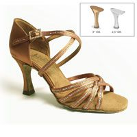 "Larissa - Tan Satin w/ Sequin Accent - 3"" IDS heel"