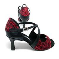 "Liza in Red/Black Lace with 2.5"" heel in size 2.5 UK / 5 CA & US"