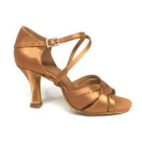 "Mia - Tan Satin - 2.5"" IDS Flare heel (Shoes)"