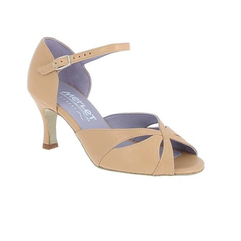 "Saphir - Beige Leather - 2.5"" Flare heel"