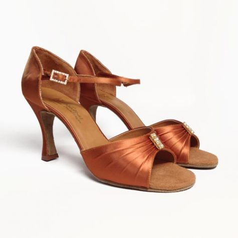 "Audi in Tan Satin with 3"" heel in size 6 English / 8.5 Canada & U.S."