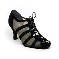 "Sya - Black Suede / Beige Mesh - 2.5"" Flare heel (Shoes)"