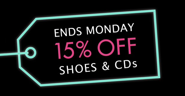 Black Friday save 15% off Shoes & Music