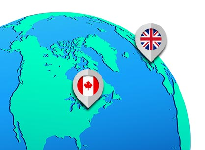 World globe showing location of International Dance Shoes in England and Dance Plus in Toronto